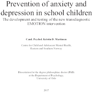 Prevention of anxiety and depression in school children.